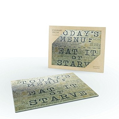 Glass Cutting Board by TIMELESS BY DESIGN - THE COOKS SENTIMENTS CUTTING BOARD Non Slip Shatter...