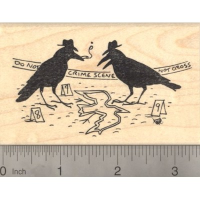 Murder of Crows Rubber Stamp, Crow Crime Scene Detective