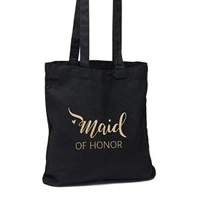 Maid of Honor ブラックトートバッグ ウェディングパーティーギフト 12パック