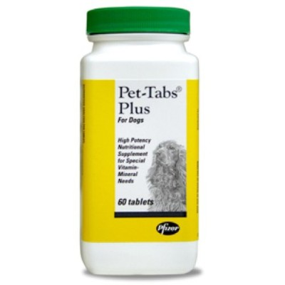 Virbac Pet-Tabs Plus Enhanced Vitamin Mineral Supplement Tablets for Dogs 60ct