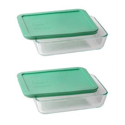 Pyrex 3-cup長方形ガラス食品ストレージセット 3 cup, Pack of 2 Containers