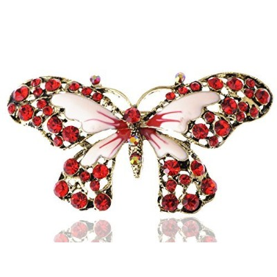 Alilang Antique Golden Tone Red Rhinestones Butterfly Insect Wings Brooch Pin