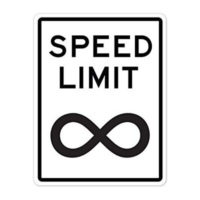 Walls 360 Peel & Stick Street and Traffic Sign Wall Decal: Speed Limit infinity (8.75 in x 12 in)...