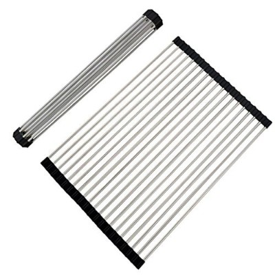 (45cm x 26cm) - Fun-Ker Roll-up Dish Drying Rack Foldable Stainless Steel Over Sink Rack Kitchen...
