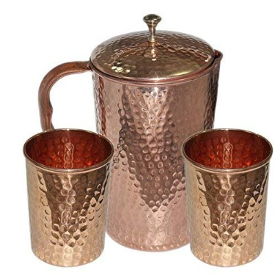 (Copper Hammered) - Ayurvedic Pure Copper Water Pitcher Jug Set 2 Water Glasses Cup Tumbler Jug...