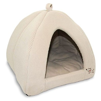 Best Pet Tent Bed For Dogs And Cats, Corduroy Beige, XL 20x20x20 Inches