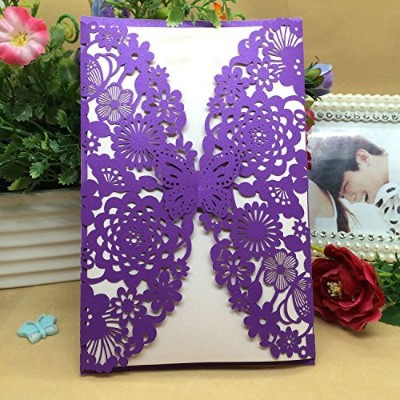 (Purple) - 50PCS Pear Paper Laser Cut Bronzing Wedding Baby Shower Invitation Cards with Butterfly...