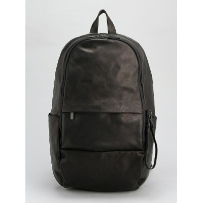 PATRICK STEPHAN (U)Leather-washed backpack 'round double F' パトリック ステファン バッグ リュック/バックパック ブラック【送料無料】