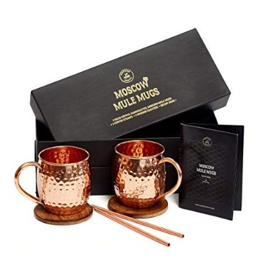 Moscow Mule Mugs Gift Set, 2 Authentic Handcrafted Copper Mugs (470ml), 2 Straws, 2 Solid Wood...