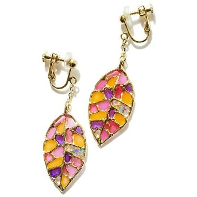 rehacer rehacer:Stained glass Leaf Earrings レアセル アクセサリー イヤリング ゴールド シルバー