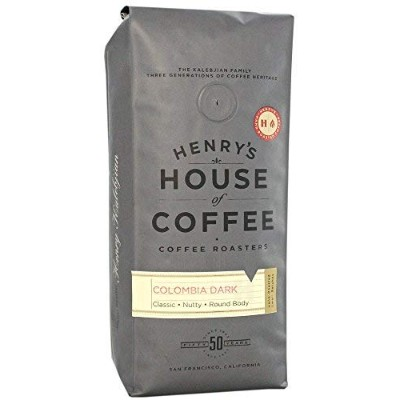 """Henry's House Of Coffee """"Colombia Dark"""" Dark Roasted Whole Bean Coffee - 1 Pound Bag"""