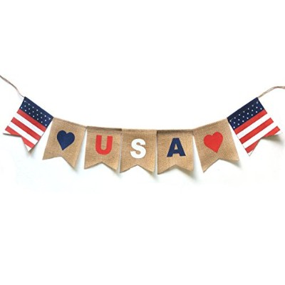 USA Banner. Burlap Banner USA Decor for Independence Day 4 of July or Any US Patriotic Holiday.
