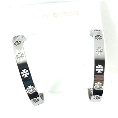 Tory Burch Pierced-T Earring Silver Hoops [並行輸入品]
