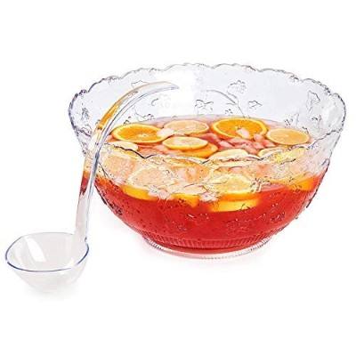 Premium Quality Plastic Punch Bowl With Ladle - Large 7.6l Bowl With 150ml Ladle by Upper Midland...