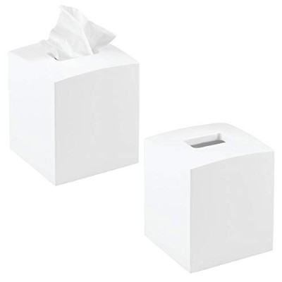 mDesign Square Facial Tissue Kleenex Box Cover Holder for Bathroom Vanity Countertops, Bedroom...