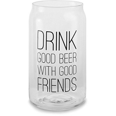 """Pavilion Gift Company 68106 Man Crafted""""Drink Good Beer With Good Friends"""" Glass Cup Candle Holder,..."""
