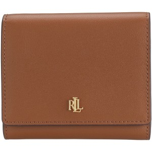 レディース LAUREN RALPH LAUREN LEATHER FLAP COMPACT WALLET 財布  ブラウン