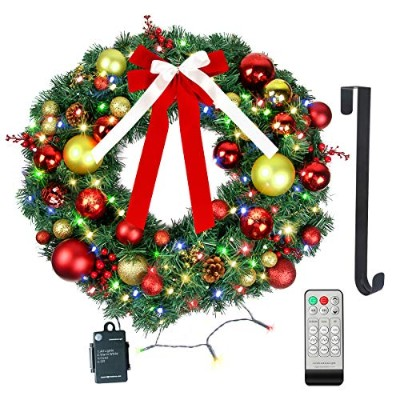 Christmas Wreath with LED lights – クリスマスガーランド – 人工クリスマスパインWreath – バッテリーOperated Over 200時間 –...