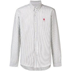 Ami Paris Button-Down Shirt Ami De Coeur Patch - グレー