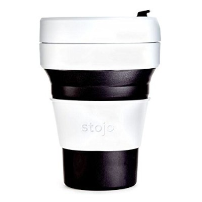 Stojo Collapsible Cup, Silicone, Travel Mug, Reusable, Leak Proof Lid, 12 oz, Black by Stojo