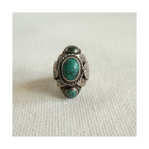 flemington vintage/フレミントン ヴィンテージ  1970s turquoise structured silver ring【三越・伊勢丹/公式】 アクセサリー~~指輪~...