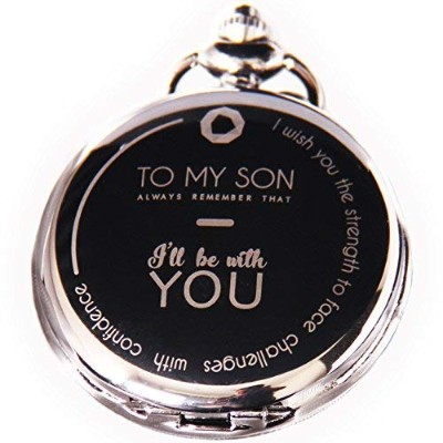Perfectギフトに息子Pocket Watch To My Son – Always Remember I 'll Be With you-ネックレスチェーンレーザー刻印Quartz...