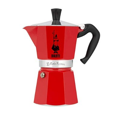 (6-Cup, Red) - Bialetti 06633 6 Moka Stovetop Espresso Maker, 6-Cup, Red