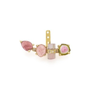 【67%OFF】14KYG assorted pave pink tourmaline + watermelon tourmaline slice 片耳イヤージャケット イエローゴールド...