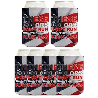 (6, American Flag) - Funny Beer Coolie 4th July Colours Don't Run Kick Ass Murica 6 Pack Can Coolies