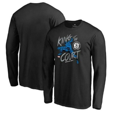 Fanatics Branded Brooklyn Nets Black Marvel Black Panther King of the Court Long Sleeve T-Shirt メンズ