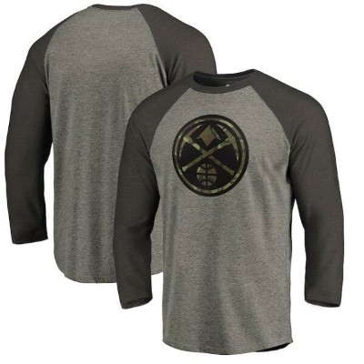 Fanatics Branded Denver Nuggets Heather Gray Camo Collection Prestige Raglan 3/4-Sleeve T-Shirt メンズ