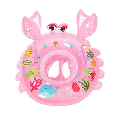 uclever Baby Inflatable Pool Float Infant Crab Seat Boat Swim Ring withハンドル ピンク UC-ring-011