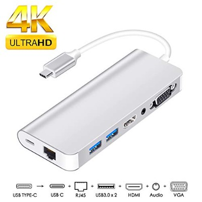 usb c vga usb-cハブ7in1 type c hdmi vga 変換 usb type c ハブ usb-c hdmi lan Samsung Galaxy /S9/S8/Note 9...