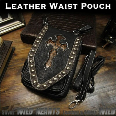 3WAY ベルトポーチ ウエストポーチ/シザーバッグ  ショルダーバッグ レザー 本革 Genuine Leather Waist Pouch Purse Belt Pouch Shoulder...
