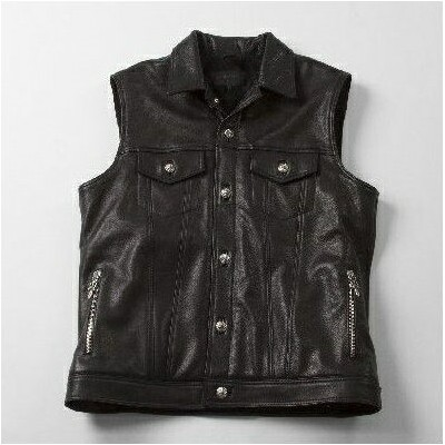 CHROME HEARTS MEN'S MOTORBREATH LEATHER VEST QUILTED CASHMERE クロムハーツ メンズ MOTORBREATH レザー ベスト キルト...