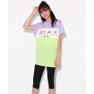 【PINK-latte(ピンク ラテ)】 ブロッキングTシャツ+レギンス セット OUTLET > PINK-latte > ワンピース > セットアップ ライトパープル