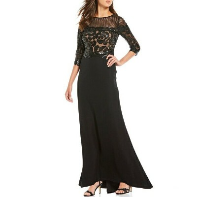 タダシショージ レディース ワンピース トップス Petite Size Sequin Floral Lace Illusion Neckline Gown Black/Nude