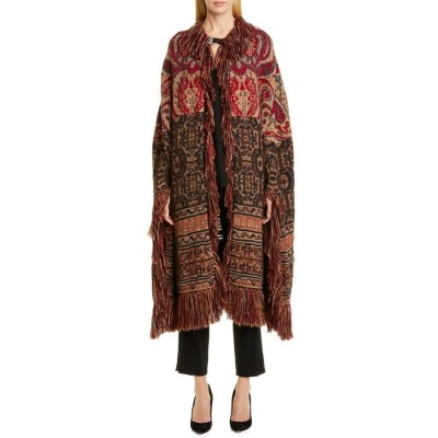 エトロ レディース コート アウター Etro Fringe Wool & Alpaca Blend Jacquard Blanket Cape Brown Red