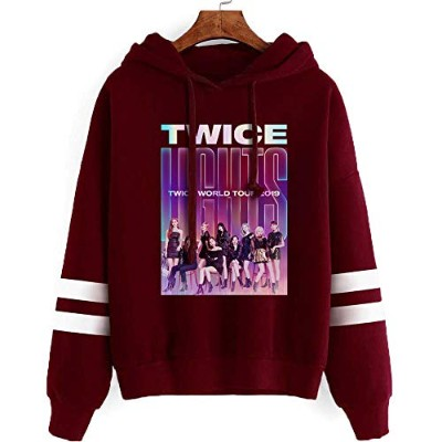 KPOP TWICE YES OR YES パーカー コンサートトレーナー 韓流グッズ TWICE応援服 フード付き 衣装 棉 男女兼用 (TWICELIGHTS01-ワインレッド, S)