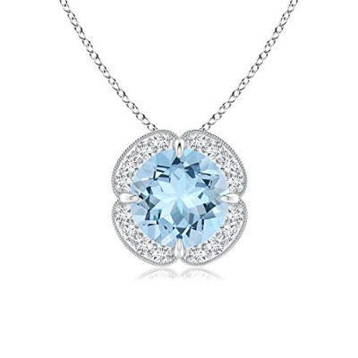 Holiday Offer – Clawセットアクアマリンクローバーネックレスペンダントネックレスの女性with Diamond Halo