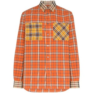 Burberry panelled checked shirt - オレンジ