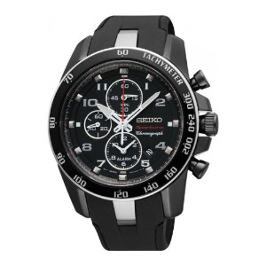 Seiko Sportura セイコー スポーチュラ メンズ腕時計 Black Dial Black Steel Black Rubber Chronograph Mens Watch SNAE89