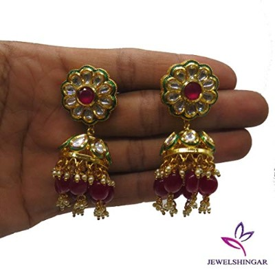 Jewelshingar Jewellery Gold Plating Ruby Colour Dangle & Drop Earrings For Women (50639-other%204)