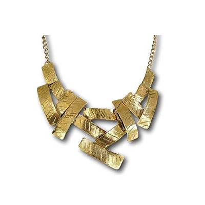 Antiqued Ethnic Tribal Gold Clavicle Bib Necklace Choker by Pashal