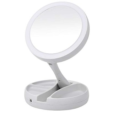 Portable LED Lighted Makeup Mirror Vanity Compact Make Up Pocket mirrors Vanity Cosmetic hand...