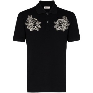 Alexander McQueen floral skull embroidered cotton polo shirt - ブラック