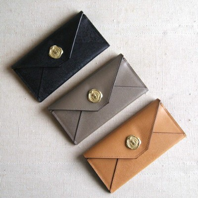 SAN HIDEAKI MIHARA COW LEATHER MAIL LONG WALLET