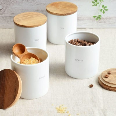 【BS】ベーシック キャニスター BS08 2個セット チーク材 木葢 白磁 日本製 BASIC CANISTER  LOLO ロロ 美濃焼