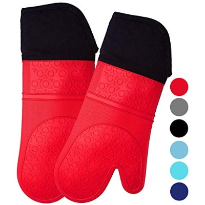 (Oven Mitts, Red - 14.7 inch Long) - Extra Long Professional Silicone Oven Mitt - 1 Pair - Oven...