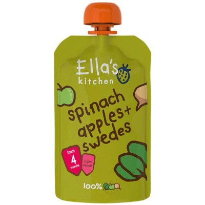 Ella's Kitchen - Stage 1 Baby Food - Spinach, Apples & Swedes - 120g